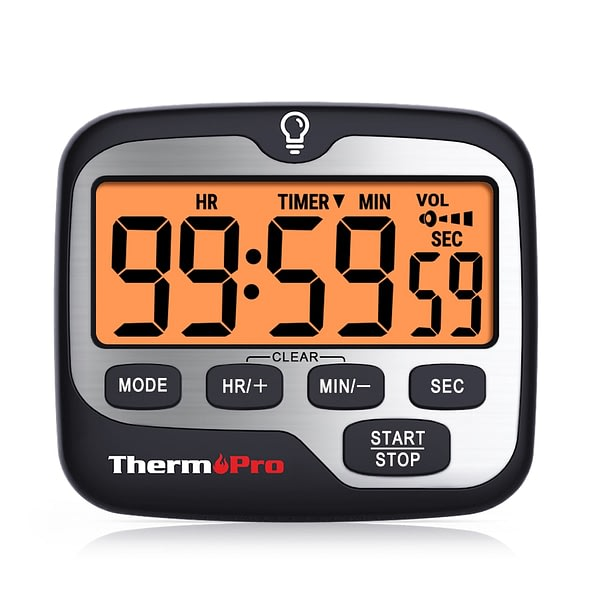ThermoPro TM01 Digital Cooking Kitchen Timer With Large Backlight Display Countup Countdown and Clock Function