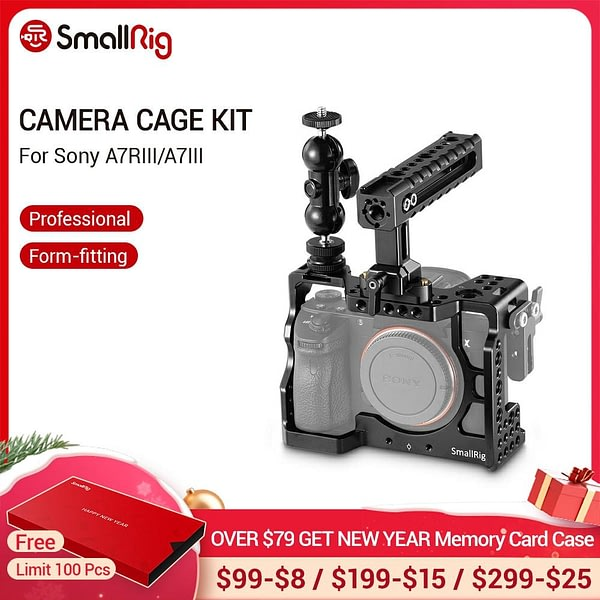 SmallRig a7iii a7riii Camera Cage Kit for Sony A7RIII/A7III Cage With Nato Handle + Double Ball Heads Extension Arm Kit - 2103