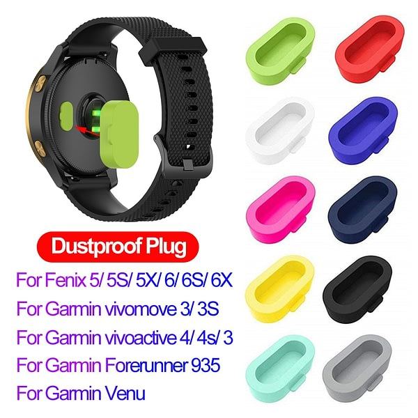 Colorful Silicone Dustproof Plug Cover Case for Garmin Vivoactive 3 4 4S Fenix 6 6S 6X 5 5X 5S Forerunner 935 Watch Accessories