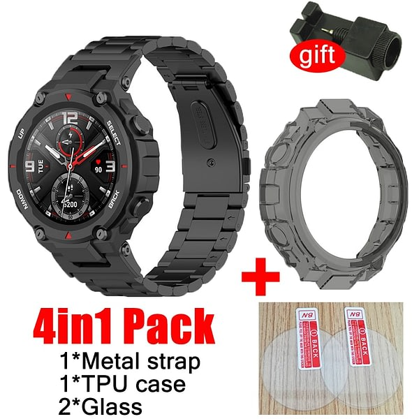 4in1 strap for Amazfit T-rex smart watch Band stainless steel Bracelet for huami amazfit TREX case cover glass screen protector