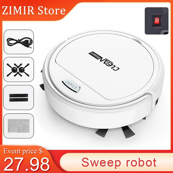 CHUJIN Smart USB Recharge 3 in 1Mini Wireless Robot Vacuum Cleaner 50HZ Home Dry Wet Mop cleaning robot Charge Vacuum Cleaner