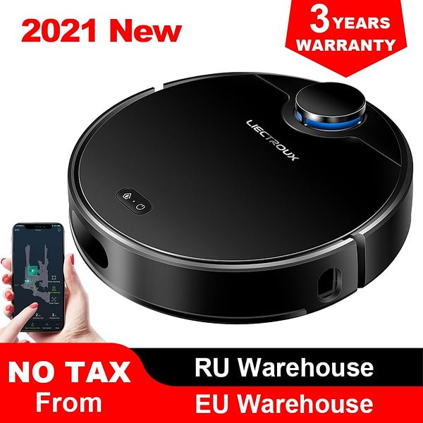 Liectroux ZK901 Robot Vacuum Cleaner Laser Navigation with 4000Pa Suction, Breakpoint Cleaning, Wet Cleaning, APP Visual Maps