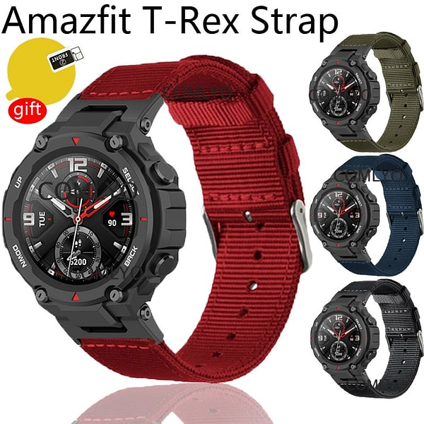 For Xiaomi Amazfit T-Rex strap Smartwatch nylon Canvas Stainless Steel Buckle Bracelet for amazfit t rex screen protector belt