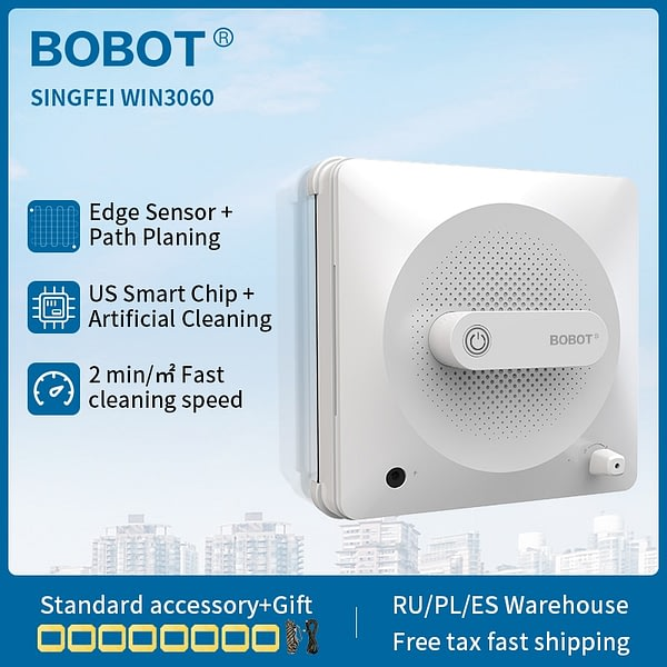 BOBOT Robot-Vacuum-Cleaner Window Washer Robot for House Glass Washing 2500 pa Vacuum Robot Cleaner Window Suction Anti Falling