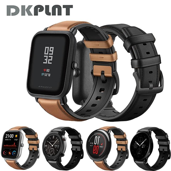 DKPLNT 20/22mm Genuine leather Strap For Amazfit Bip S gts gtr Bracelet for xiaomi Amazfit GTR 42mm 47mm Pace Stratos Strap