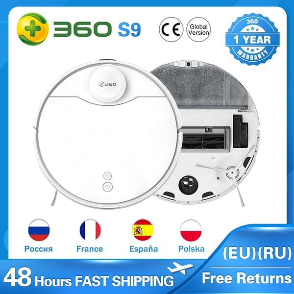 360 S9 LDS Lidar Laser Navigation Wet and Dry 5200mAh Robot Vacuum Cleaner 53dB Low Noise APP Dual Remote Control 2200Pa Suction