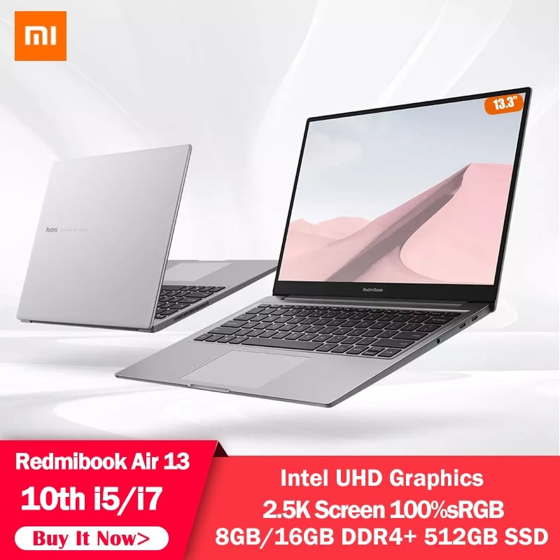 Xiaomi RedmiBook Air 13.3 inch Laptop Notebook Intel UHD Graphics GPU Core i5-10210Y/i7-10510Y Processor 8G/16G RAM 512GB SSD