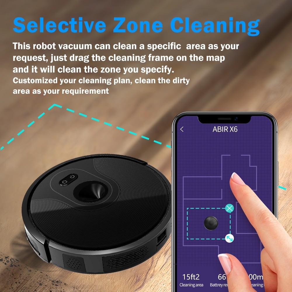 ABIR X6 Robot Vacuum Cleaner,Draw Cleaning Area, Hand Draw Virtual Blocker, Map Storage on WIFI APP, Water Speed Adjustable