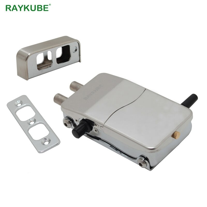 RAYKUBE Electronic Door Lock With Remote Control Keys Opening Invisible Intelligent Lock Wireless Keyless Door Lock R-W39
