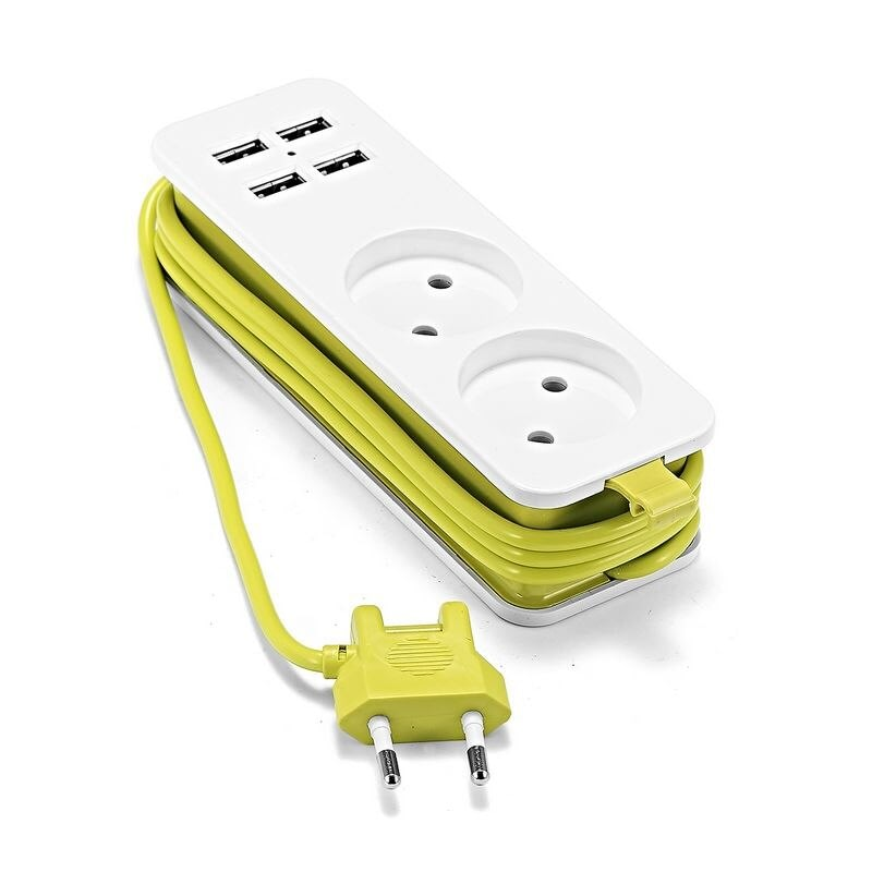 EU Power Strip Portable EU Schuko type Sockets 1.5/1.8m Cable Multiple Electric Extension Socket With 4 USB Port Fast Charging